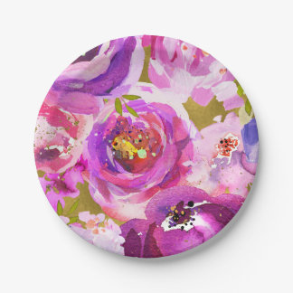 Pops Of Pink Purple Gold Modern Trendy Floral Chic Paper Plate