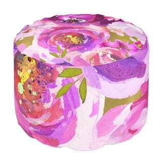 Pops Of Pink Purple Gold Modern Violet Floral Chic Pouf