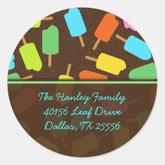 Popsicle Address Label Round Sticker