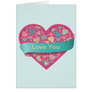 Popsicle Love heart with banner, customizable Card