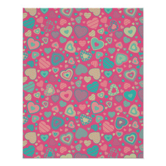 popsicle love - tiny heart pattern poster