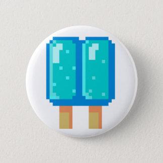Popsicle Pixel Art Blue 8-Bit Button