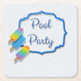 Popsicle Pool Party Square Paper Coaster