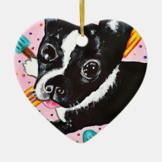 Popsicle Pup Ceramic Heart Ornament