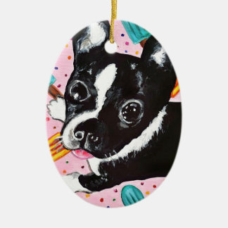 Popsicle Pup Ceramic Oval Ornament