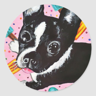 Popsicle Pup Classic Round Sticker