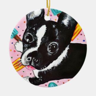 Popsicle Pup Round Ceramic Ornament