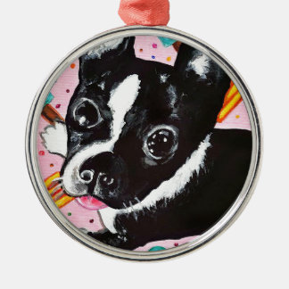 Popsicle Pup Silver-Colored Round Ornament