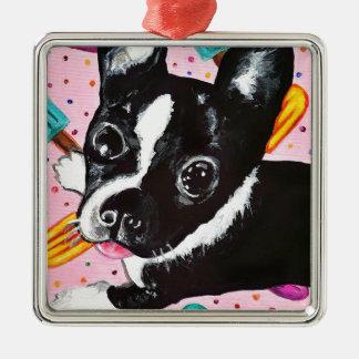 Popsicle Pup Silver-Colored Square Ornament