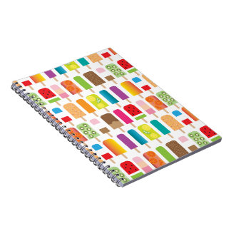 Popsicles and Ice Cream Bars Sweet Dessert Treats Spiral Notebook