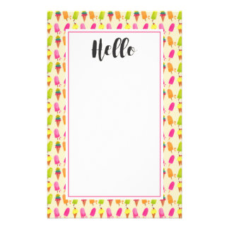 Popsicles and Ice Cream Colorful Summer Pattern Stationery
