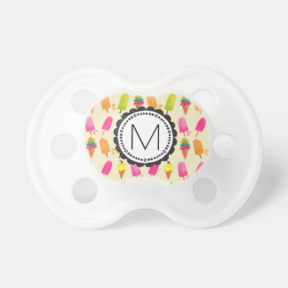 Popsicles and Ice Cream Cones Custom Monogram Baby Pacifiers