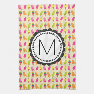 Popsicles and Ice Cream Cones Custom Monogram Kitchen Towel