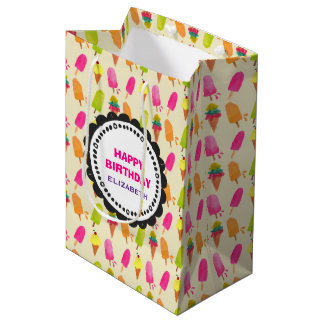 Popsicles and Ice Cream Pattern Happy Birthday Medium Gift Bag