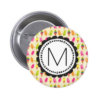 Popsicles and Ice Cream Personalized Monogram 2 Inch Round Button