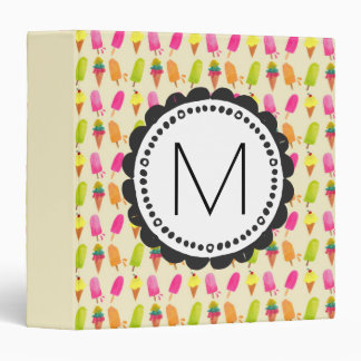 Popsicles and Ice Cream Personalized Monogram 3 Ring Binders