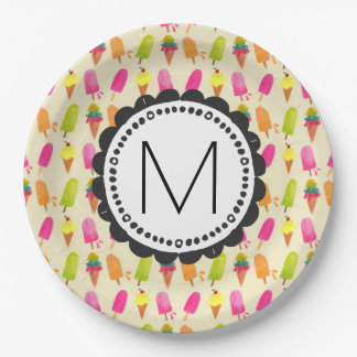 Popsicles and Ice Cream Personalized Monogram 9 Inch Paper Plate