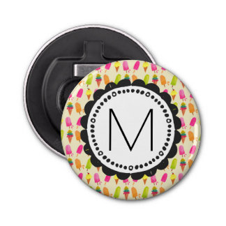 Popsicles and Ice Cream Personalized Monogram Button Bottle Opener