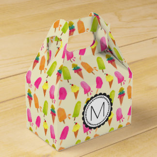 Popsicles and Ice Cream Personalized Monogram Favor Box