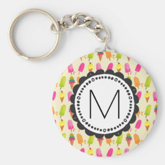 Popsicles and Ice Cream Personalized Monogram Keychain