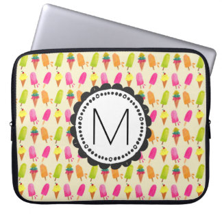 Popsicles and Ice Cream Personalized Monogram Laptop Sleeve