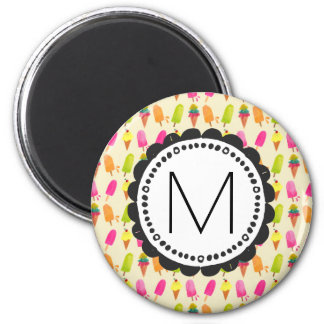 Popsicles and Ice Cream Personalized Monogram Magnet