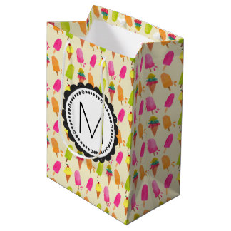 Popsicles and Ice Cream Personalized Monogram Medium Gift Bag