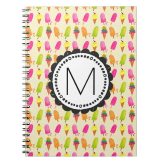 Popsicles and Ice Cream Personalized Monogram Notebook
