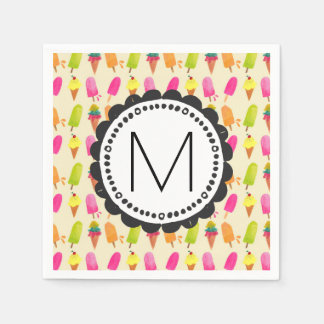 Popsicles and Ice Cream Personalized Monogram Paper Napkins