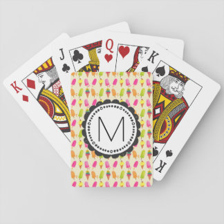 Popsicles and Ice Cream Personalized Monogram Playing Cards