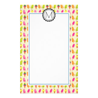 Popsicles and Ice Cream Personalized Monogram Stationery