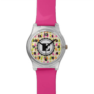 Popsicles and Ice Cream Personalized Monogram Wrist Watches