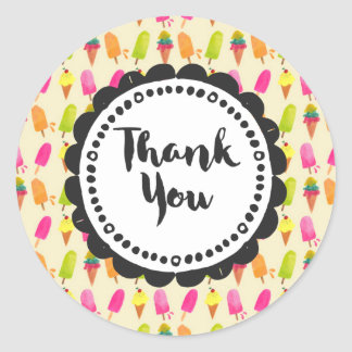 Popsicles and Ice Cream  Thank You Round Sticker