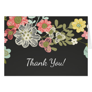 Popular Chalkboard Floral Thank You Note Card