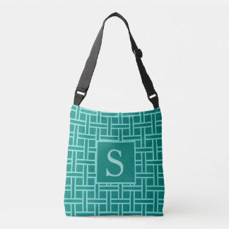 Popular Geometric Pattern Monogram Teal Crossbody Bag