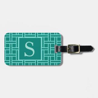 Popular Geometric Pattern Monogram Teal Luggage Tag