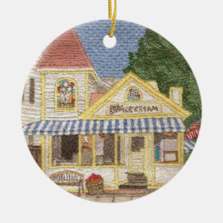Popular ice cream shoppe in New England town Round Ceramic Ornament