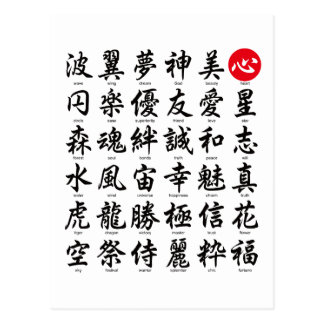 Popular Japanese Kanji Postcard