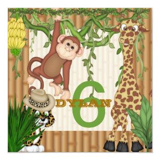 """POPULAR Jungle 6th Birthday  Invitation Template 5.25"""" Square Invitation Card"""
