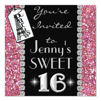 POPULAR Paris SWEET 16 BLING Party Invitation