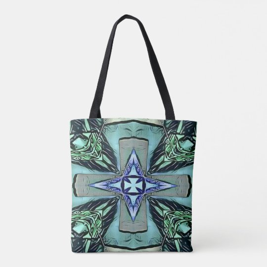 Popular Teal Purple Modern Star Cross Pattern Tote Bag
