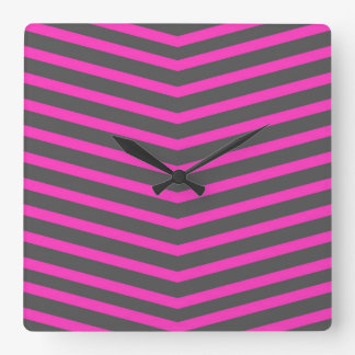 Popular Trendy Long Zig Zag Pink and Black Stripes Clock