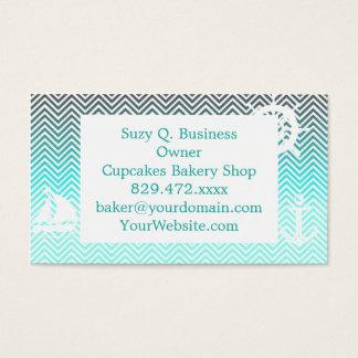 Popular turquoise Zigzag Chevron Retro Vintage Business Card