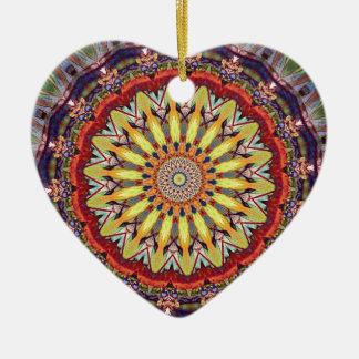 Popular Vibrant Mandala Pattern Ceramic Heart Ornament