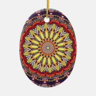 Popular Vibrant Mandala Pattern Ceramic Oval Ornament