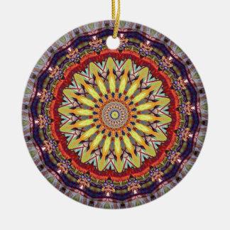 Popular Vibrant Mandala Pattern Round Ceramic Ornament