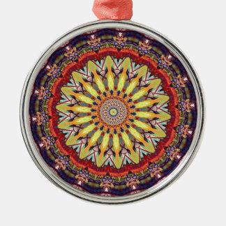 Popular Vibrant Mandala Pattern Silver-Colored Round Ornament