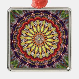 Popular Vibrant Mandala Pattern Silver-Colored Square Ornament