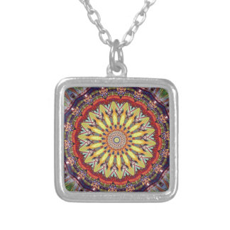 Popular Vibrant Mandala Pattern Silver Plated Necklace