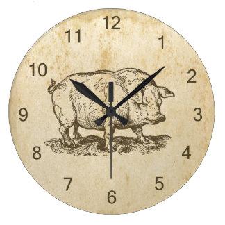 Porc antique grande horloge ronde